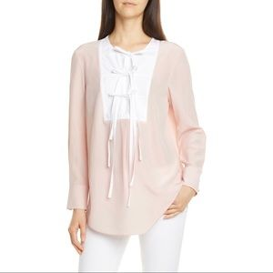 TORY BURCH - Tie Front Silk Blouse Pink